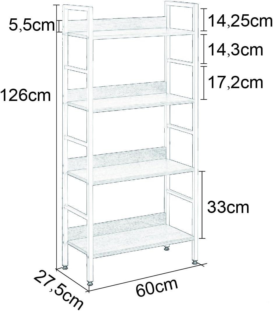 WOLTU Heavy Duty Bookcase Shelf Unit 4 Shelves Storage Rack White and Oack