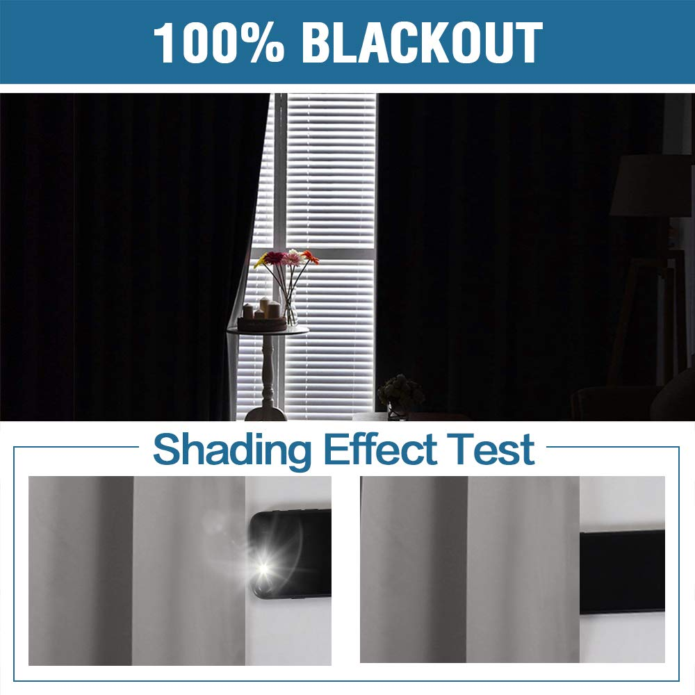 Thermal Insulated Lined Curtains 84 Inches Double Layer Curtains 2 Panels Grey with Black Liner Flamingo P 100/% Blackout Curtains for Bedroom Energy Saving Curtains Grommet Window Drapes