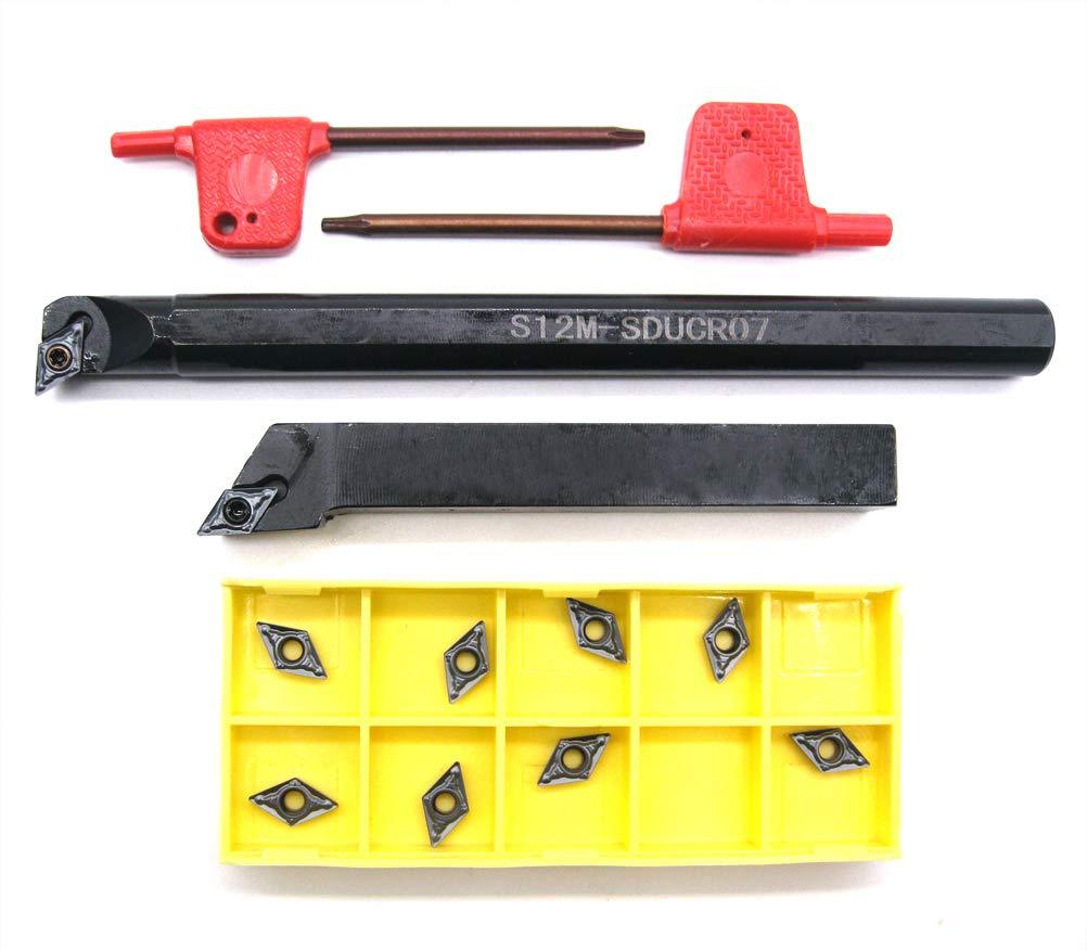 4Set Shank Lathe Turning Tool Boring Holder 12mm+10*Carbide Insert Blades N1T1