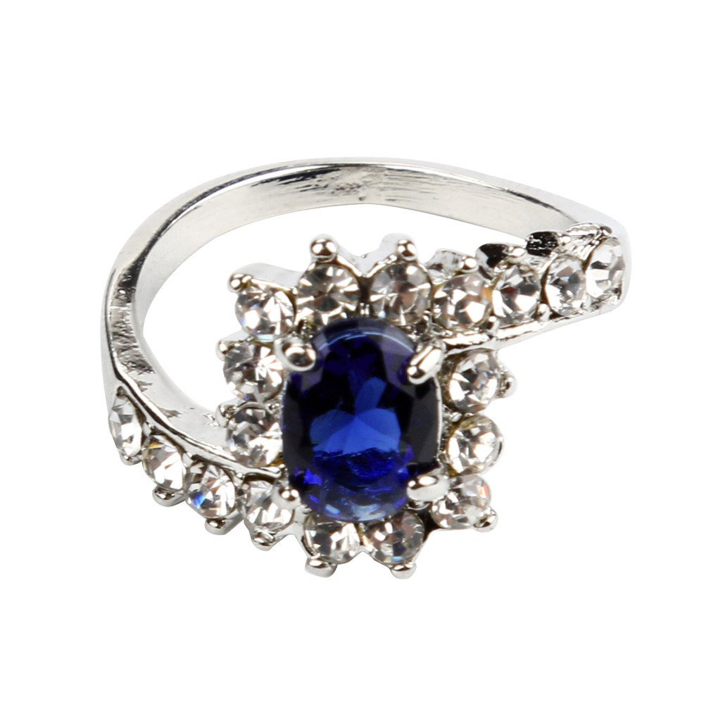 HUAMING Fashion Women Wedding Engagement Ring Colorful Crystal Jewelry Rings Size 5-10 (Blue, 7)