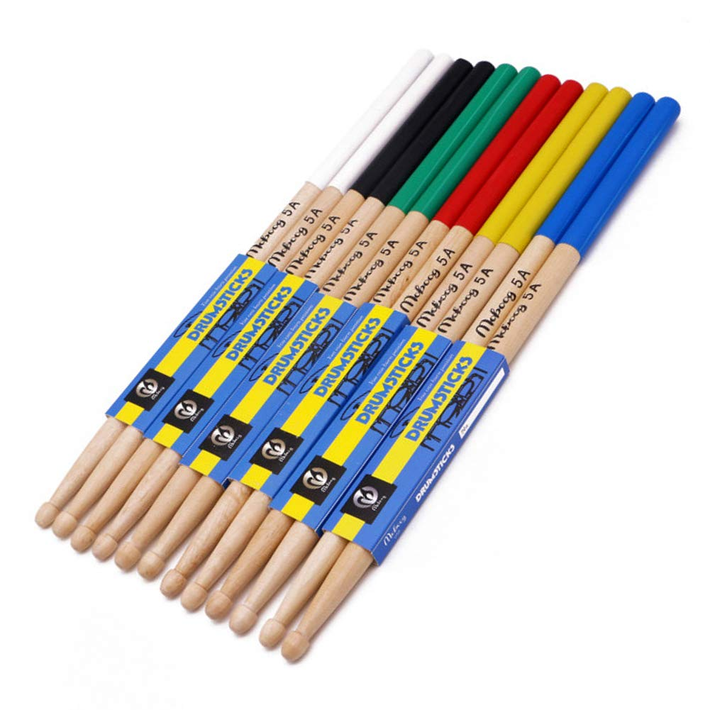 Lot de 6 paires de baguettes lumineuses en bois 5A Accessoire pour enfants et /étudiants Instrument de musique durable Baguettes classiques professionnelles Antid/érapantes