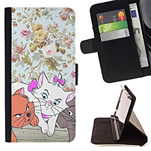 For Motorola Moto E 2nd Generation - Kittens Floral Wallpaper Cartoon Cat /Leather Foilo Wallet Cover Case with Magnetic Closure/ - Super Marley Shop -