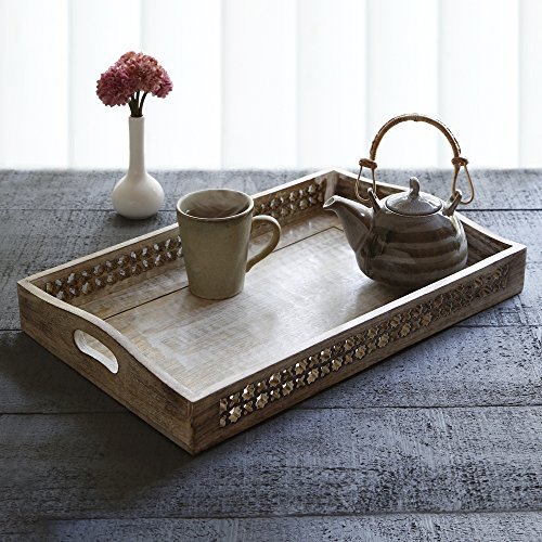 Store Indya Wooden Large Breakfast Serving Tray with Handles Tea Snack Dessert Parties Serveware Dining Accessory (Halloween Snack Ideas For Classroom Party)