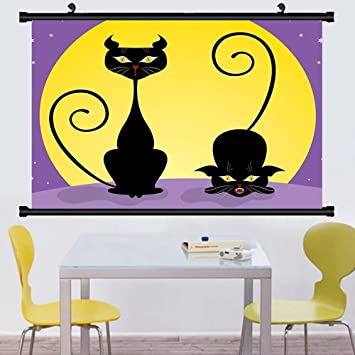 Amazon.com: Gzhihine Wall Scroll Cat Decor Two Black Kitties front ...