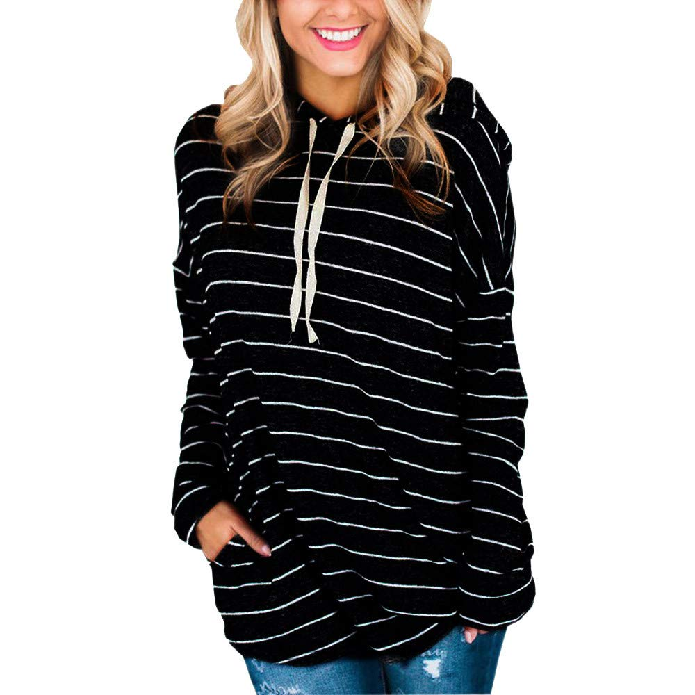 Kaitobe Womens Casual Long Sleeve Hoodie Sweatshirts Girls Loose Striped Hooded Pullover Blouse Tops with Pockets