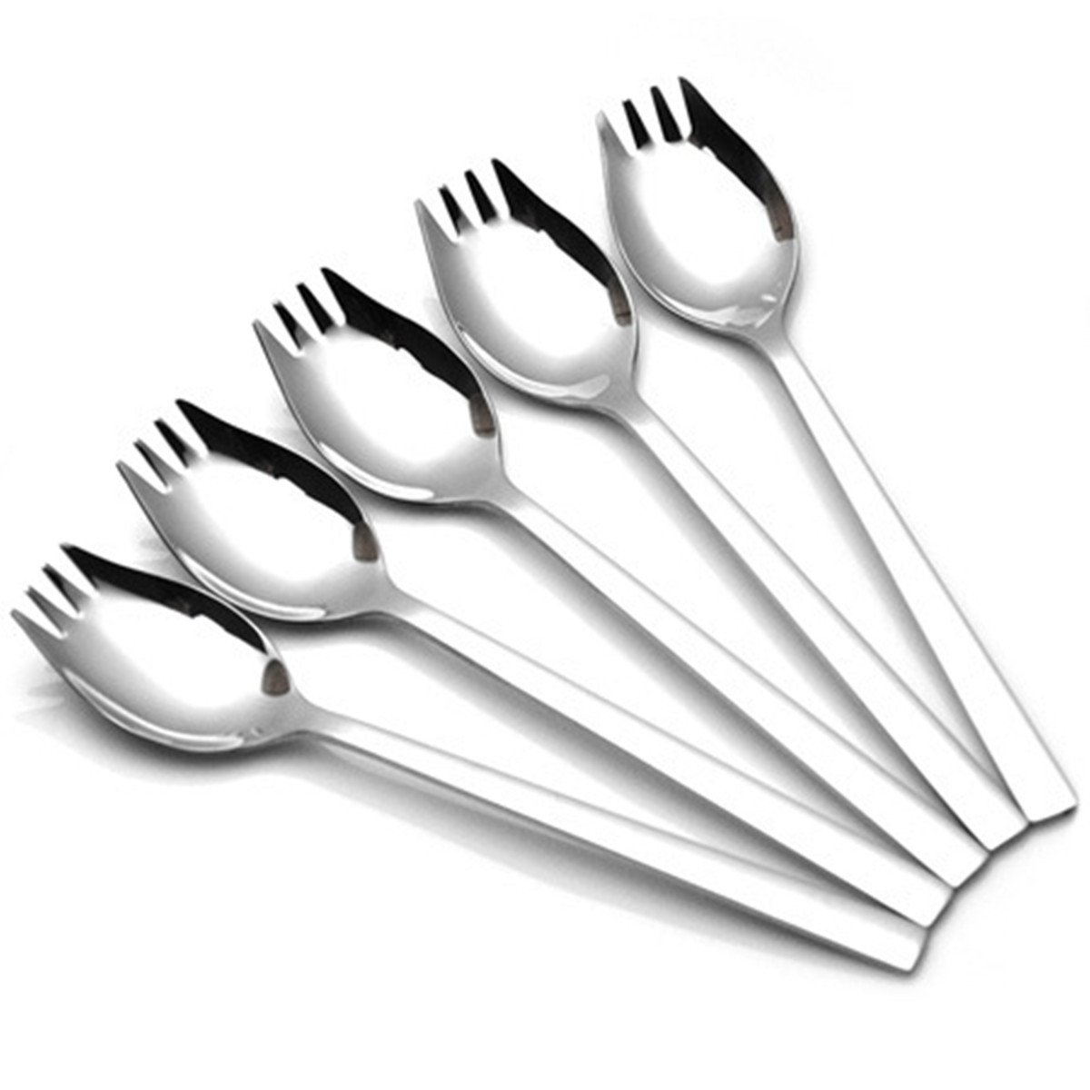 Buffet Fork,Salad Spork Cutlery Set, 18/10 Stainless Steel Spork for Outdoor Travel and Camping, 2in1 Spoon and Fork-5 Pieces by ZYV ZYVoyage