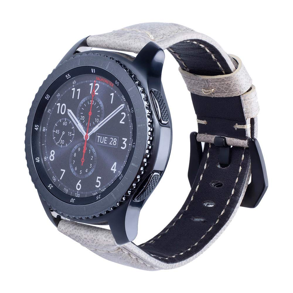 JiaMeng Reemplazo Pulsera de Banda Artificial Cuero Correa Reloj de Cuero Correa de muñeca Correa de Reloj para Samsung Gear S3 Reloj Inteligente (Blanco): ...