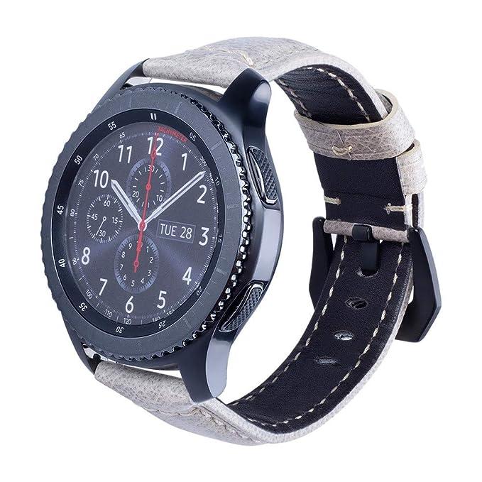 JiaMeng Reemplazo Pulsera de Banda Artificial Cuero Correa Reloj de Cuero Correa de muñeca Correa de