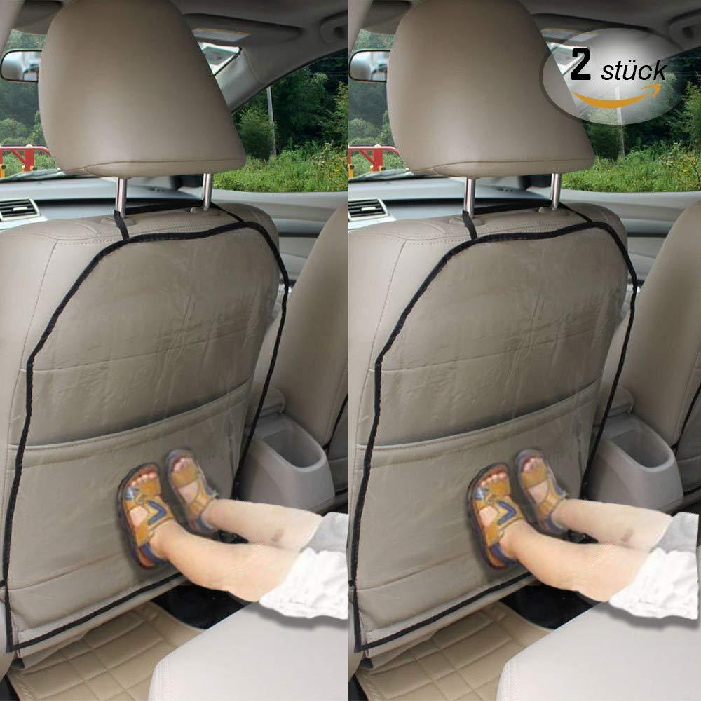 Autositz Rückenschutz, Anti-Schmutzig Rückenlehnenschutz Auto Kinder, Wasserdichter Autositzschoner Rückenlehne kinder, 2 Stück Transparent Abnehmbare Hängen Auflage Trittmatten für Kinder