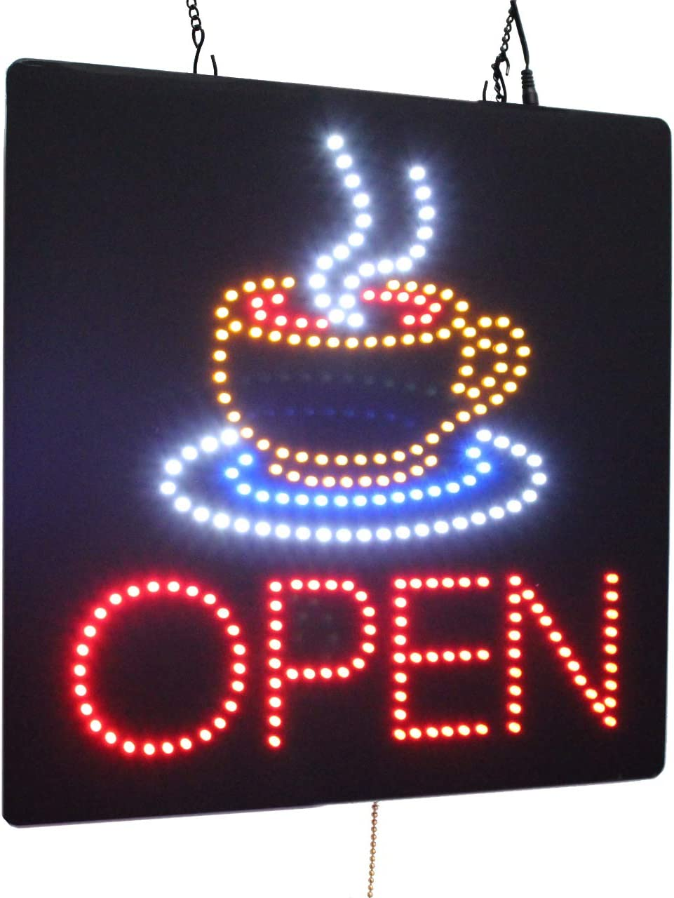 Open with a Coffee Mug Sign, TOPKING Signage, LED Neon Open, Store, Window, Shop, Business, Display, Grand Opening Gift