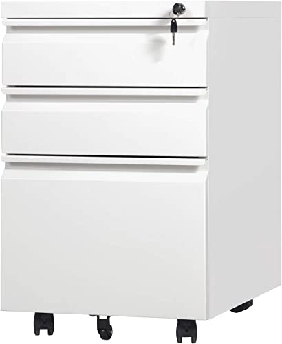 3 Drawers Mobile File Cabinet White,JULYFOX Steel Metal Filing Cabinet on Casters with Lock 2 Keys Letter Legal A4 Size Fully Assembled Except Wheels 330 lb Heavy Duty
