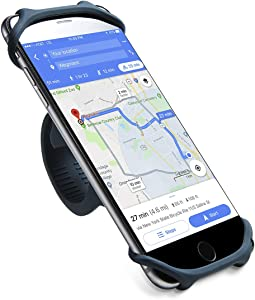 Cyclepartner Universal Phone Mount for Bike Non-Slip Shockproof German Silicone Cellphone Bicycle Motorcycle Holder Mobile Smartphone Compatible for iPhone X, XS MAX, Plus 8 7 6 5,Galaxy,Note (Navy L)