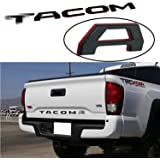 Tailgate Insert Letters Compatible with 2016-2021 Taco Accessories Rear Emblem Decals (Gloss Black with Red Border)