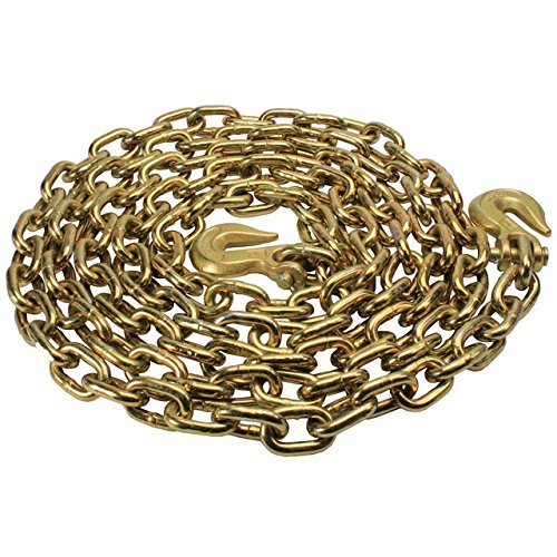 1/2'' x 20' Grade 70 Standard Link Transport Chain, Binder Chain with Clevis Grab Hooks