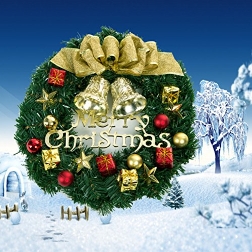 christmas wreath merry christmas decoration outdoor ornament wreath garland seasonal pine wreath with cones gold bowknot bristle indoor wall window
