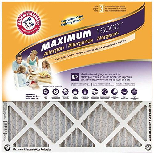 Arm & Hammer Max Allergen & Odor Reduction 14x20x1  Air and Furnace Filter, MERV 11, 4-Pack