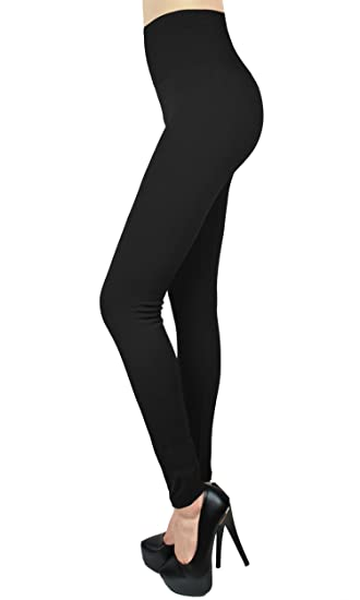 bba260ac1db187 SNJ New Fleece Lined Leggings High Waist Solid Colors Tights Black TRENDS  at Amazon Women's Clothing store: