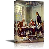 """Wall26 - Writing the Declaration of Independence by Jean Leon Gerome Ferris - Canvas Print Wall Art Famous Painting Reproduction -24"""" x 36"""""""
