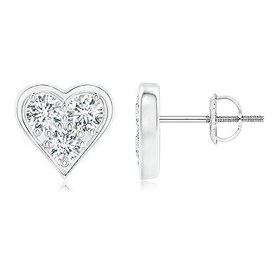 Angara Heart Shaped Three Stone Diamond Stud Earrings QTYkxVyvq
