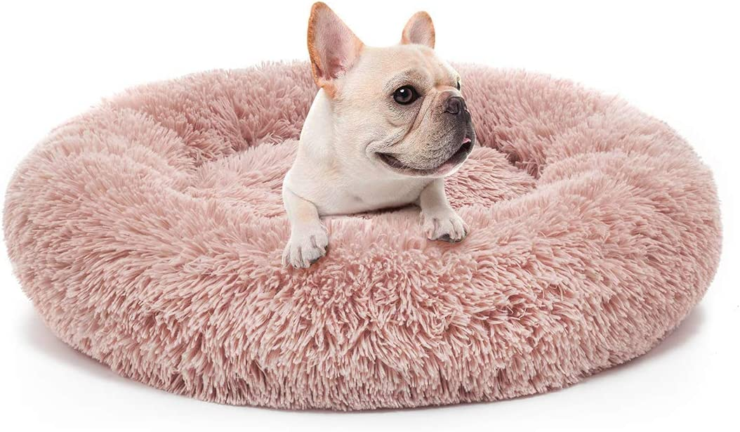 Pet Calming Bed,Soft Plush Donut Round Cuddler Cushion for Dog Cat,Washable,Non-Slip Waterproof Bottom