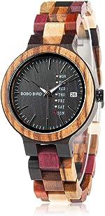 BOBO BIRD Women Wood Watches Colorful Wood WristWatches Week & Date