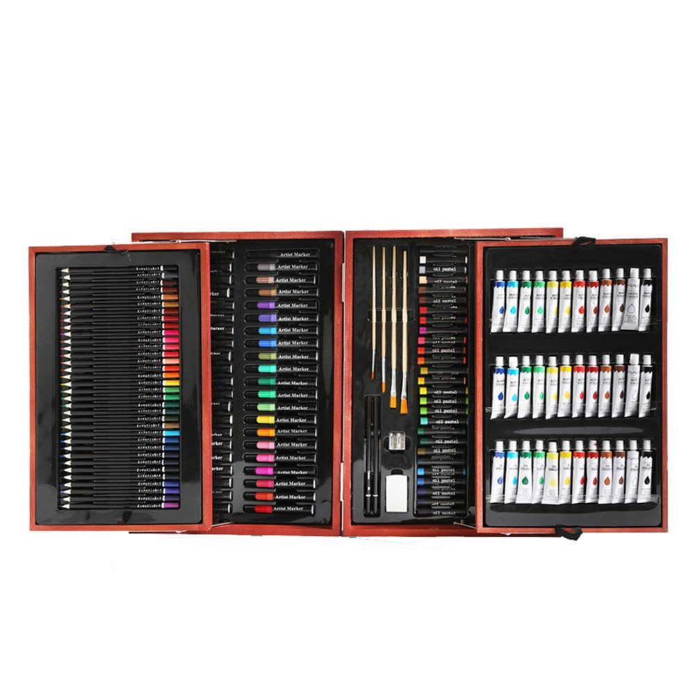 JIANGXIUQIN Artist Art Drawing Set, Children's Art Brush Set Double Open Wooden Box Primary School Watercolor Pen School Stationery Gifts for Children and Children. (Color : Brown)