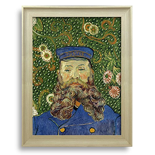 Portrait of the Postman Joseph Roulin by Vincent Van Gogh Framed Art Print Famous Painting Wall Decor Natural Wood Finish Frame