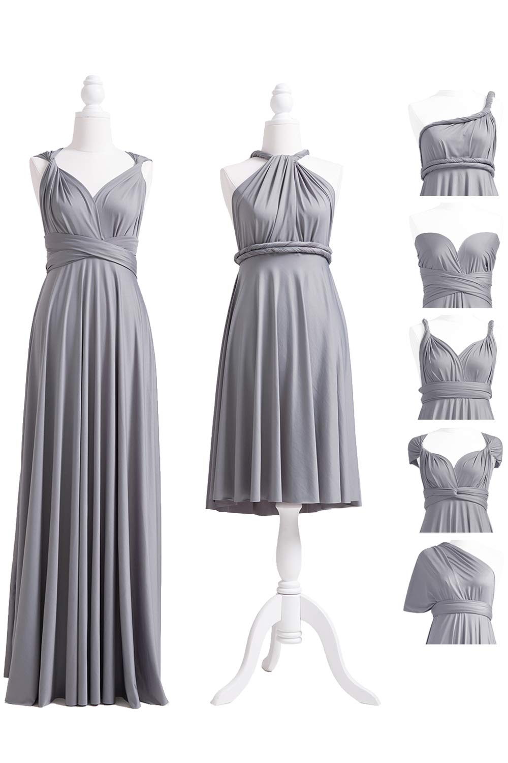 72STYLES Grey Infinity Dress with Bandeau, Convertible Dress ...