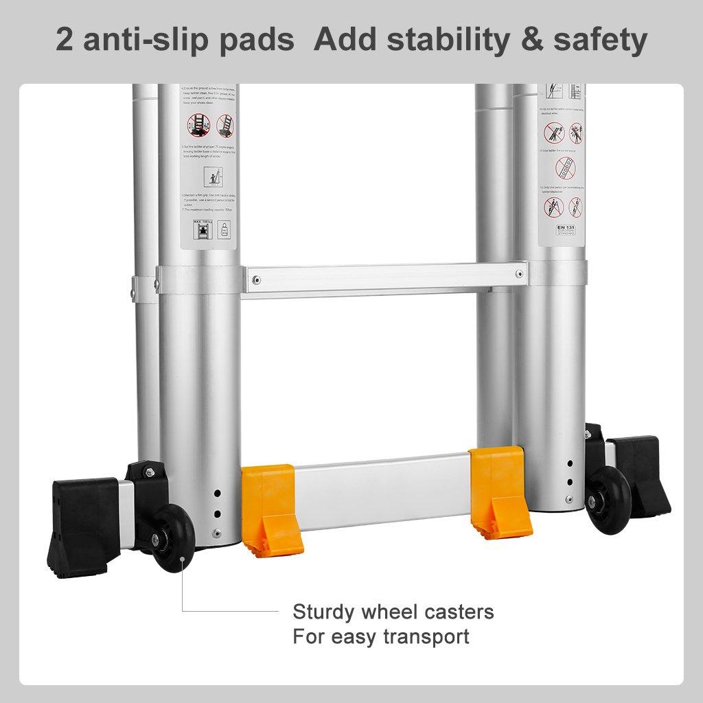 12.5FT, Multi-prop/ósito Extensible, Buena Calidad, Mayor Seguridad, Aluminio Finether-3.8M Escalera Telesc/ópica Plegable