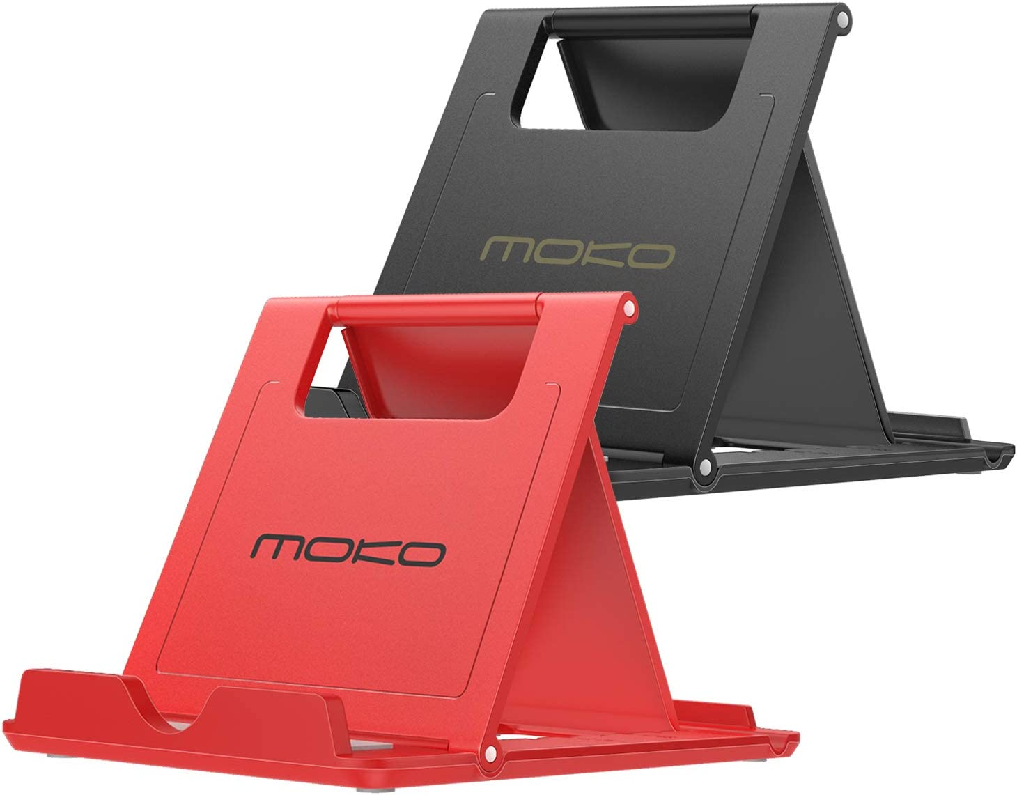 """MoKo [2 Pack] Phone/Tablet Stand, Foldable Holder Fit with iPhone 11 Pro Max/11 Pro/11, iPhone Xs/Xs Max/Xr/X, iPhone SE 2020, iPad Pro 11 2020/10.2/Air 3/Mini 5, Galaxy S20 6.2"""", Black & Red"""