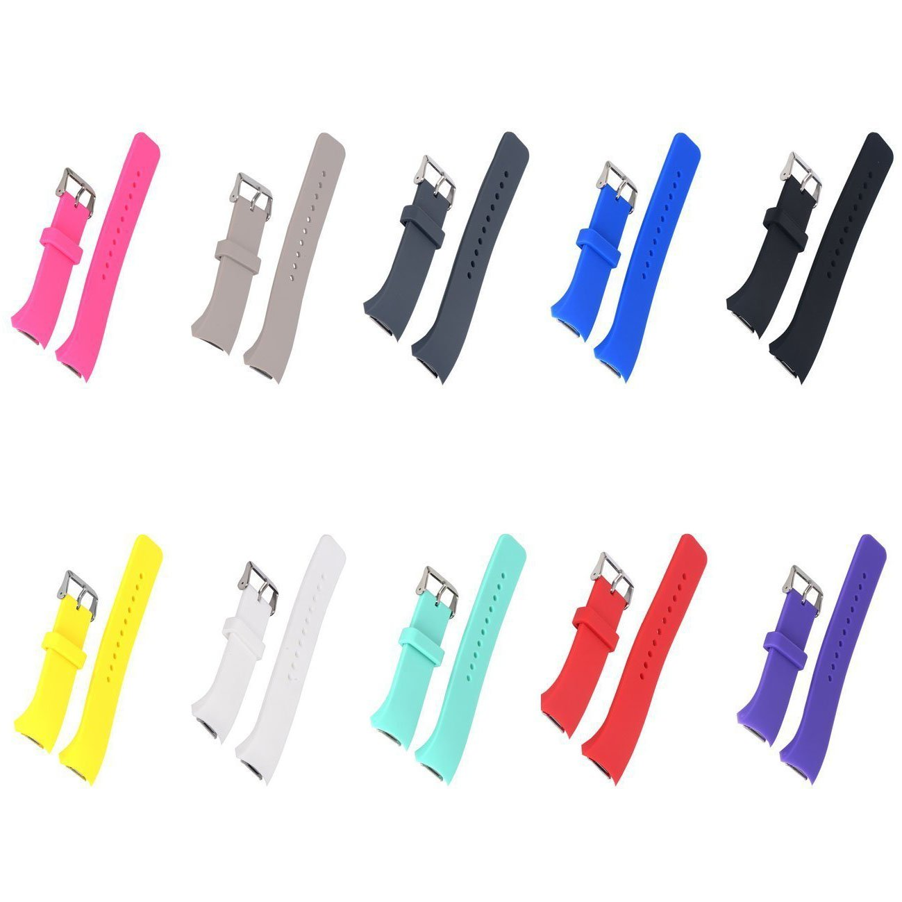 E ECSEM 10pcs Small Bands for Gear Fit2 Pro Watch, Replacement Soft Silicone Bands Straps for Samsung Gear Fit2 Pro Smart Fitness Band and Samsung Gear Fit2 Smartwatch : Mix A