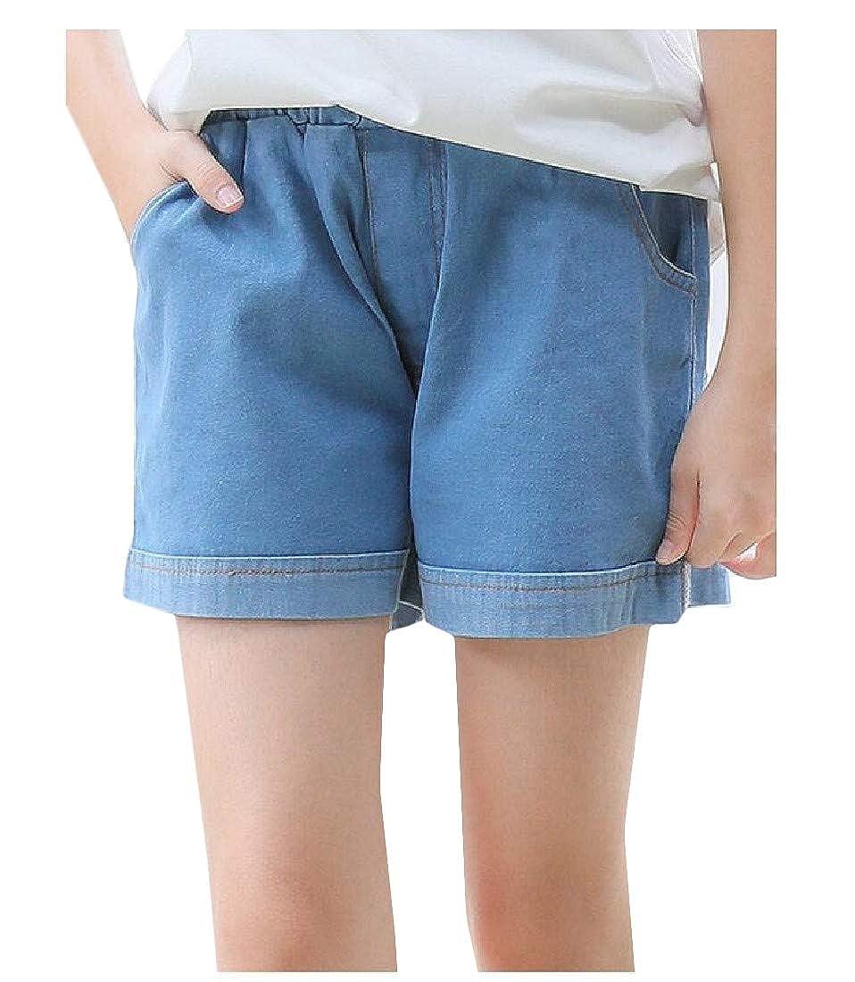 Etecredpow Girl Denim Solid Cotton Jean Cute Cuffed Shorts