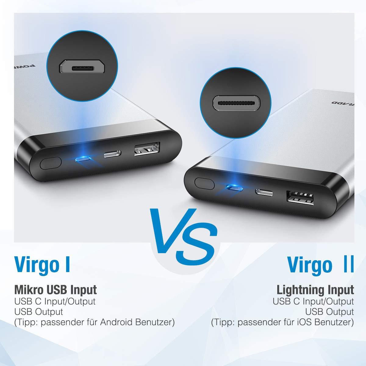 Poweradd VirgoⅡ Powerbank 10000mAh, Externer Akku mit LED Digitalanzeige , 1 USB C ( Input / Output ) Port , 1 Lightning Input und 1 USB Output , superschnelles Laden für iPhone X / 8 / 7 / 6s , Huawei mate 9 , mate 10 , P9 , P10 , P20 , Sa