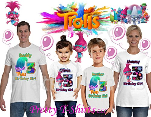 Trolls Birthday Shirt, ADD any name & ANY age, Trolls Princess Poppy, FAMILY Matching Shirts, Trolls Girl Shirt, Poppy shirts, Girl Shirts, VISIT OUR SHOP!!