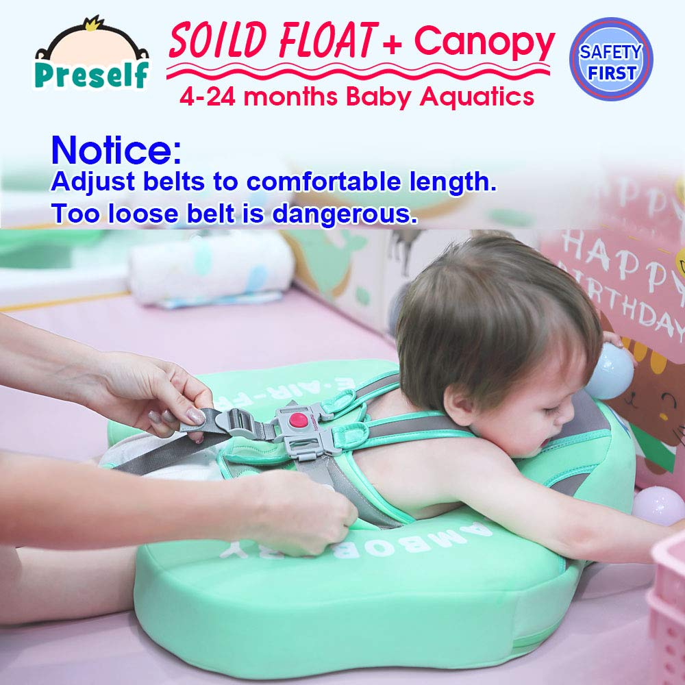 PRESELF Baby Solid Float with Canopy Safety Aquatics Floating Ring Fit Infant Toddler Swimming Pool Swim School Training (Green) by PRESELF (Image #7)