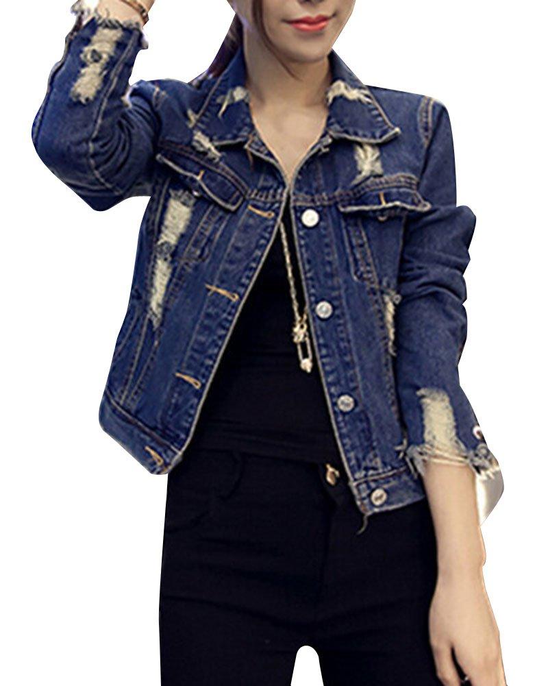 Mujer Corto Chaquetas Azul De Mezclilla Cazadoras Vaqueras MujeresAbrigo Denim Jacket