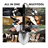 FiveJoy Military Folding Shovel Multitool (RS) - Tactical Entrenching Tool w/ Case for Camping Backpacking Hiking Car Snow - Portable, Multifunctional, Compact Emergency Kit, Heavy Duty Survival Gear