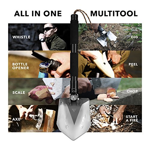 FiveJoy Military Folding Shovel Multitool (RS) Tactical Entrenching Tool w/ Case for Camping Backpacking Hiking Car Snow Portable, Multifunctional, Compact Emergency Kit, Heavy Duty Survival Gear