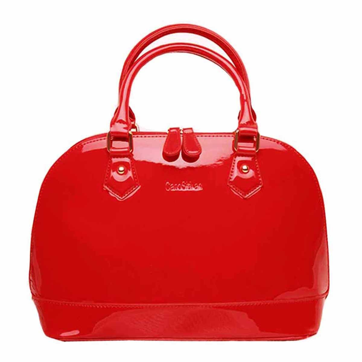 Danse Jupe Women Shiny Patent Leather Tote Handbag Dome Crossbody Bag Wedding Clutch Purse, Red
