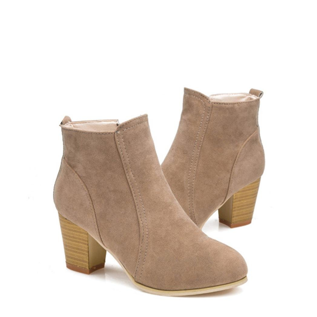 Baigoods Short Ankle Boots Thick With High Heels Shoes Martin Boots Women Spring Autumn Winter (us;4.5, Khaki)