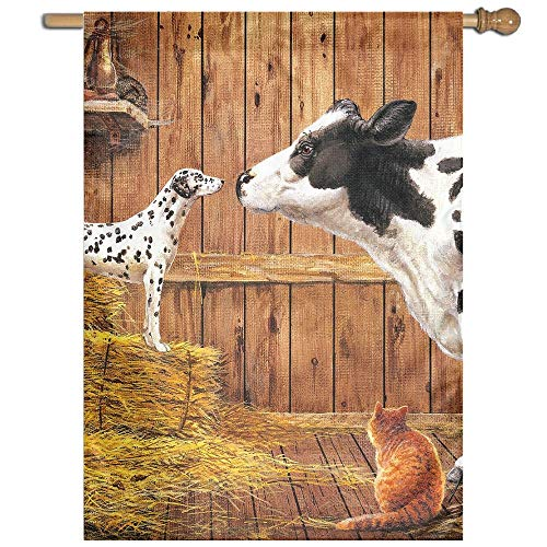 YUANSHAN Single Print Home Garden Flag Farm Animals Cow Cat Hay Barn Dog Polyester Indoor/Outdoor Wall Banners Decorative Flag -
