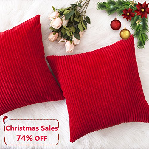 Home Brilliant Christmas Decorative Throw Pillow Covers Striped Velvet Corduroy Plush Cushion Cover Set for Holiday, 2 Pack(Red, 18 x 18 inch, 45cm) (Decorative Christmas)