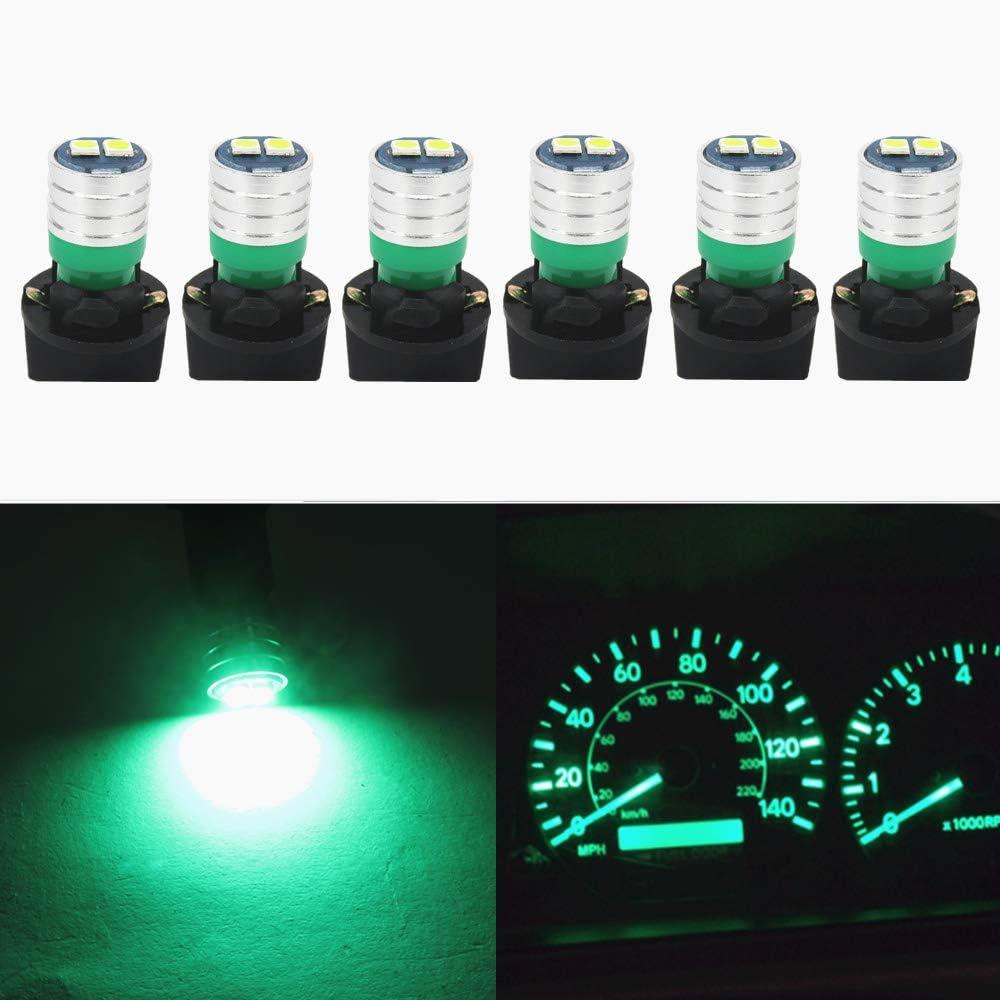 WLJH 194 Led Bulb PC195 PC194 PC168 Car Dashboard Instrument Panel Bulbs 168 2825 T10 Led Twist Socket Locks Dash Lights Gauge Cluster Led Super Bright (Green,Pack of 6)