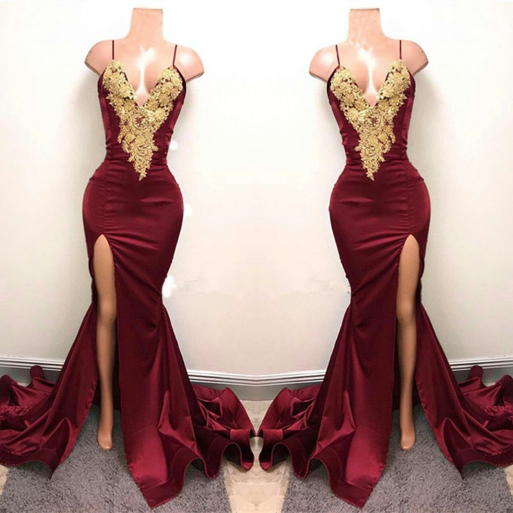 74363afde7c1 ... Sexy Spaghtti Straps Deep V Mermaid Prom Dresses Evening Gown Side  Split. ; 