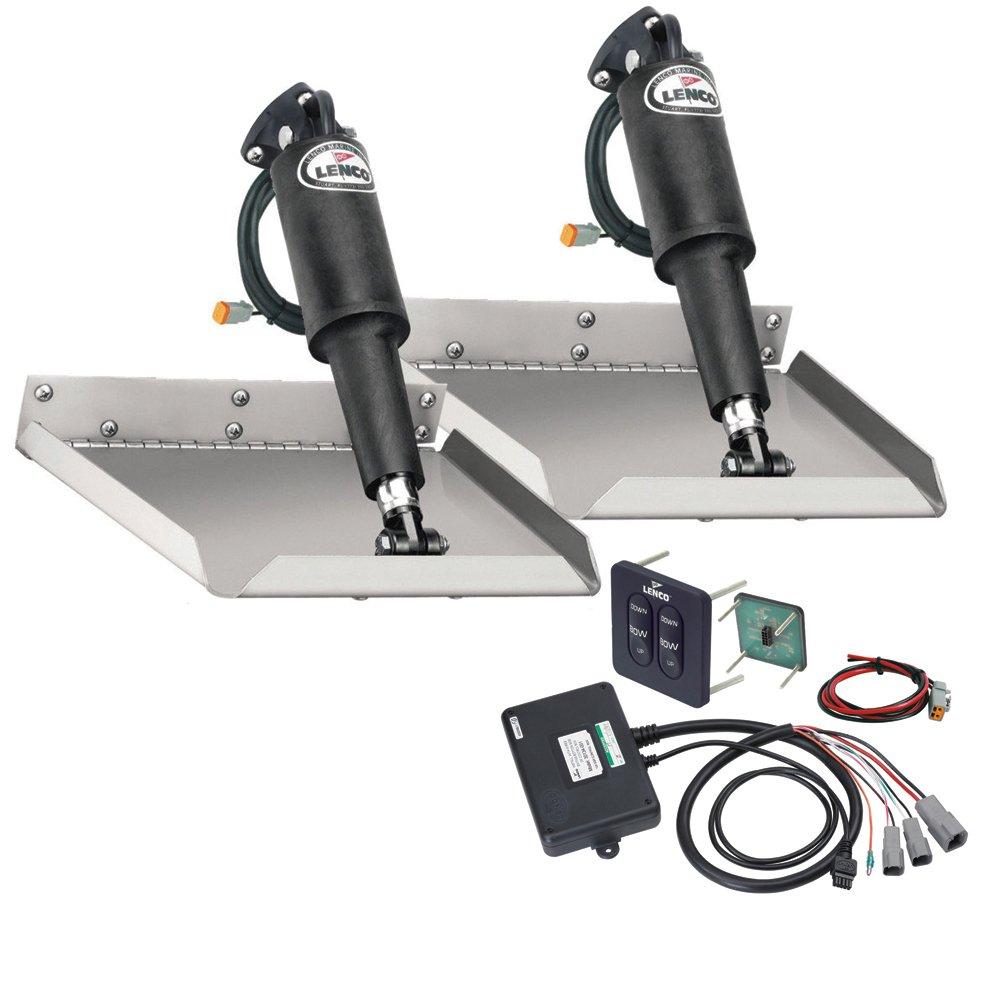 Lenco 9'' x 9'' Edgemount Trim Tab Kit w/Standard Tactile Switch Kit 12V