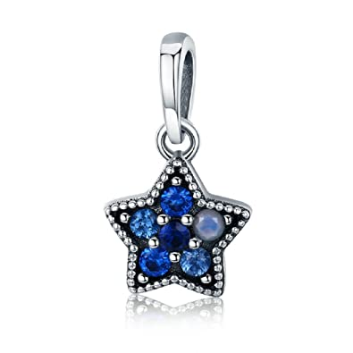 1f99ae9c2 FeatherWish 925 Sterling Silver My Little Star Pendant Dangle Charm With Blue  Cubic Zirconia Fits Pandora Bracelet (Blue Cubic Zirconia): Amazon.co.uk:  ...