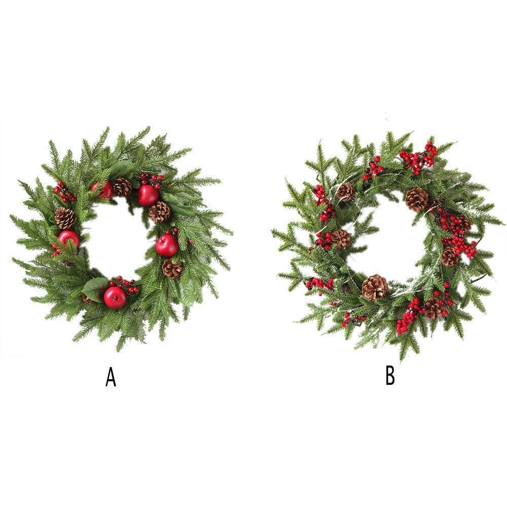 Promisen Christmas Wreath,Merry Christmas Garland Decorations with Red Berries Bells for Christmas Party Decor Front Door Wall,55-60cm Diameter (A) by Promisen (Image #6)