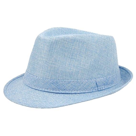 Gysad Diseño Simple Jazz Cap Lino de imitación Sombrero Panama Transpirable  y Ligero Sombrero Hombre Sombrero 389de32af831