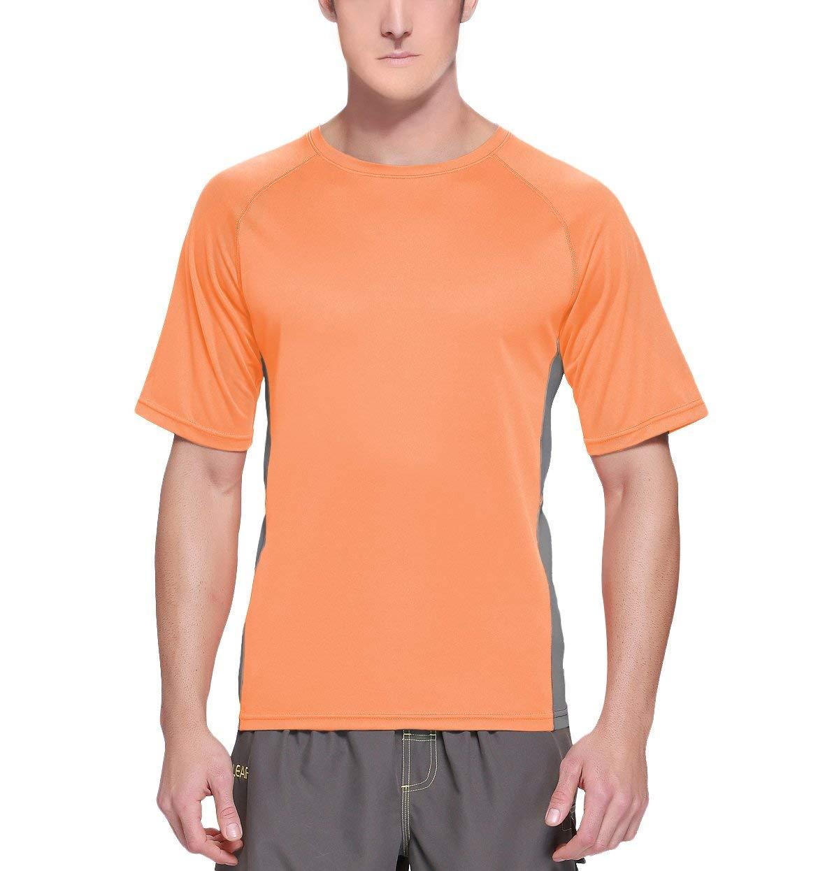 Baleaf Men's Short Sleeve Sun Protection Rashguard Swim Shirt UPF 50+ Fluorescent Orange S by Baleaf (Image #2)