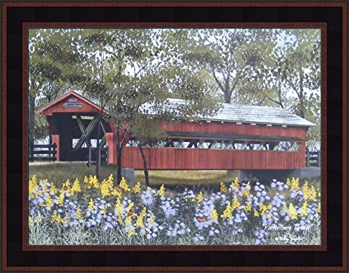 y Billy Jacobs 15x19 Red Covered Bridge Yellow Purple Flowers Butterflies Primitive Folk Art Framed Picture ()